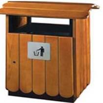 供应西安户外木条单桶钢木别墅垃圾桶LY-GM6300