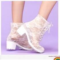 筱丹丹祥蕾丝高跟雨靴