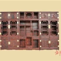 永華紅木3.32米花鳥書柜組