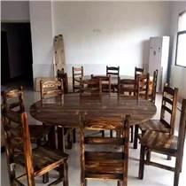 酒店碳燒桌椅實木火鍋桌仿古餐桌椅炭化木家具戶外餐桌椅
