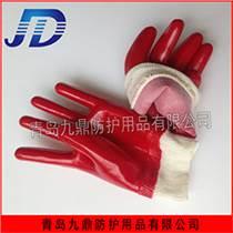 廠家直銷品質手部防護用品棉質羅口加厚耐酸堿PVC紅耐油手套全膠