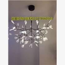 LED橄欖枝雪花葉子藝術吊燈 樹枝螢火蟲吊燈多頭亞克力創意樹枝燈