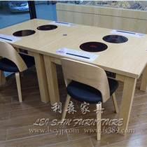 福田专业定制 中式大理石火锅烧烤一体桌 电磁炉烧烤店纸上烤肉桌