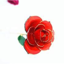黛雅植物擺件 橘紅色鍍金玫瑰花 包郵