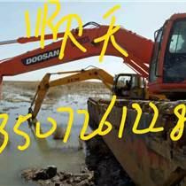 准格尔旗水陆两用挖掘机租赁改装高清图河道清淤挖掘机出租###详情