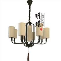 明璞新中式布藝吊燈   走廊臥室大廳現代中式鐵藝吊燈批發廠家
