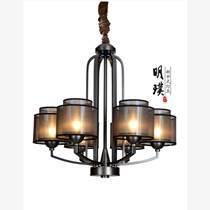 明璞新中式布藝吊燈  走廊臥室現代中式簡約鐵藝吊燈批發廠家
