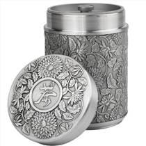 大馬錫錫器茶葉罐菊花馬來西亞錫器工藝品禮品