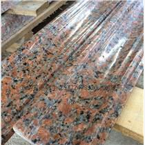 廣西楓葉紅花崗巖光面線條石材廠家,支持客戶訂制,可考察