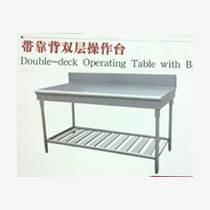 不銹鋼靠背雙層操作臺 燕郊快餐西餐廳廚房設備
