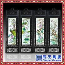 景德鎮陶瓷板畫四條屏春夏秋冬梅蘭竹菊新中式掛畫客廳裝飾畫仿古