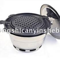 韓式燒烤爐+煎蛋烤盤 韓國烤肉爐 嵌入式燒烤爐 圓形炭火烤肉爐