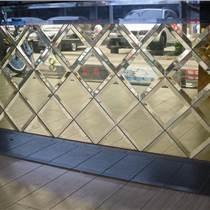 菱形藝術玻璃電視背景墻 酒店會所房間內墻裝飾拼鏡裝修材料訂做