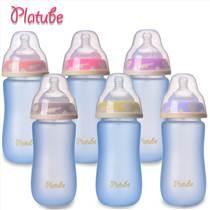 廠家直銷 寶寶感溫寬口徑玻璃奶瓶弧形保溫嬰兒防脹氣母嬰用品
