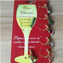 2017年新品锌合金圣诞酒杯环 圣诞宴会红酒杯环 红酒杯识别器