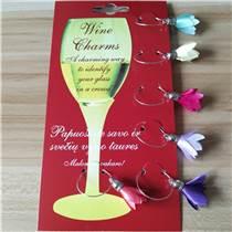 彩色六件套布質酒杯環 情人節浪漫花朵酒杯環 婚慶酒杯環