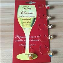 彩色铃铛酒杯环 滴油彩色铃铛酒杯环 欧美热销酒杯环