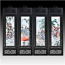 景德鎮陶瓷板畫四條屏 名家手繪梅蘭竹菊 客廳書房掛客廳裝飾畫