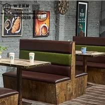 天津主題餐廳實木卡座靠墻卡座定制  飯店桌椅組合定制
