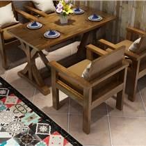 实木餐桌椅漫咖啡厅复古酒吧西餐厅馆餐桌椅组合