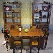 老船木餐桌椅组合中式简约家用长方形餐桌吃饭桌实木酒店