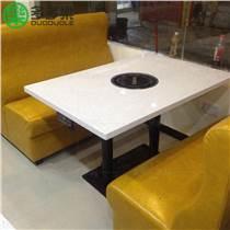 长方形大理石无烟火锅桌椅组合厂家直销