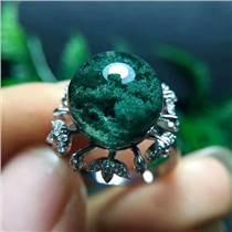纯天然绿幽灵转运珠气质简约精品女款戒指