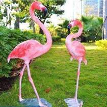 戶外玻璃鋼雕塑 仿火烈鳥雕塑 水鳥動物雕塑定制