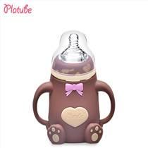 產品批發 嬰兒帶手柄防摔防脹氣弧形喂養硅膠玻璃奶瓶