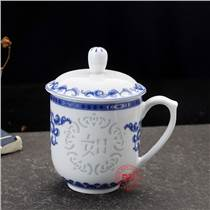 青花玲珑茶杯定做 景德镇青花茶杯厂家