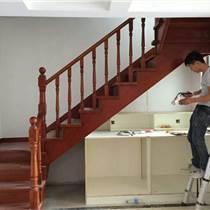 红榉木楼梯橡胶木踏板整梯室内楼梯中控螺旋护栏扶手