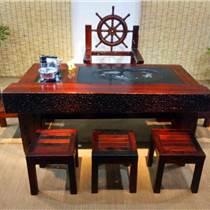 老船木家具茶臺,船木帶擋板茶臺,船木電磁爐茶臺