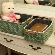 柳家居桌面收納盒零食雜物筐內衣玩具收納藤編