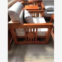 巴花新中式沙发六件套 红木家具 实木沙发