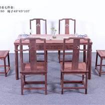 赞比亚血檀餐桌七件套 红木家具