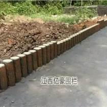 水泥仿树桩石安装做法 草坪绿化仿木树桩护栏围栏