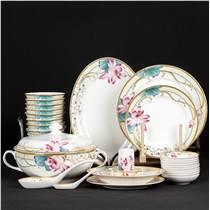 中式陶瓷餐具 描金餐具 80头餐具礼品