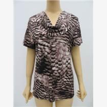外贸原单女士堆领印花T恤,女士夏季短袖T恤
