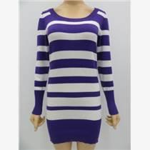 熱銷女士條紋長款毛衣,女士修身長款毛衣