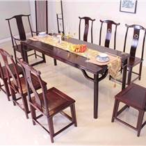 阔叶黄檀西餐桌 黑酸枝餐桌椅组合 红木家具