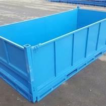 重型折疊鐵框倉儲籠網格鐵皮周轉箱儲物籠堆垛廢料箱鐵屑