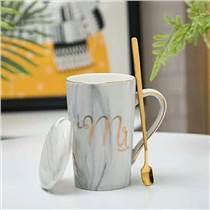 大理石紋帶蓋帶勺陶瓷馬克杯 辦公陶瓷馬克杯