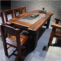 老船木圓桌實木家具餐桌田園靠背椅簡約餐桌椅