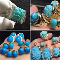 廠家直銷原礦高瓷藍綠松石戒指首飾項鏈手鏈雕刻人物獸花