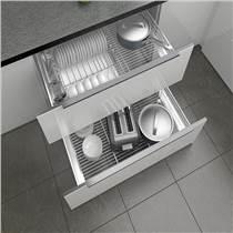 士商廚房櫥柜拉籃雙層304不銹鋼實心抽屜式瀝水碗架調