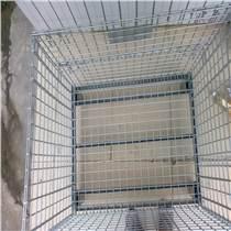 超市儲物貨架鍍鋅鐵倉儲籠 不銹鋼周轉箱  帶底腿倉儲