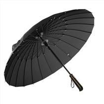 24骨實木手柄高爾夫晴雨傘超大加固抗風暴三人黑色男士