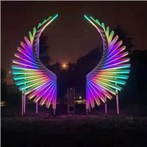 上海幕明廣場體感發光翅膀 街區手勢感應藝術裝置
