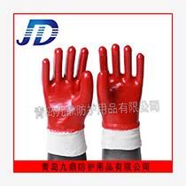 厂家直销品质手部防护用品棉质罗口加厚耐酸碱PVC红耐油手套全胶
