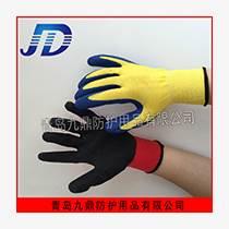 厂家直销乳胶劳保手套尼龙内里起皱涂胶防护用品批发耐磨防化出口